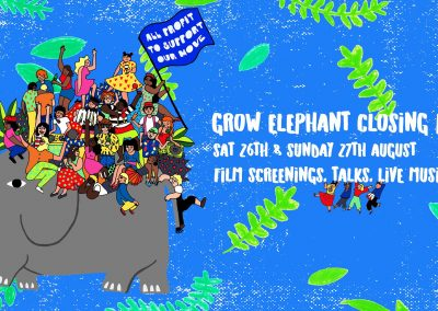 Grow Elephant Closing Party, Saturday 26th August from 4pm , Sunday 27th, from 7pm , Monday 28th from 7pm, New Kent Road, London, SE17 1SL . Leah plays Saturday night.