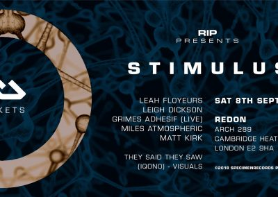 Stimulus, Saturday 8th Sep 2018, 10pm-5am,, Redon, Arch 289, Cambridge Heath Road, London, E2 9HA.